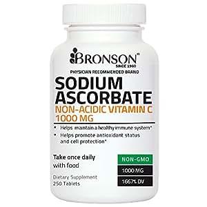 Bronson Sodium Ascorbate Non Acidic Vitamin C 1000mg, 250 Tablets