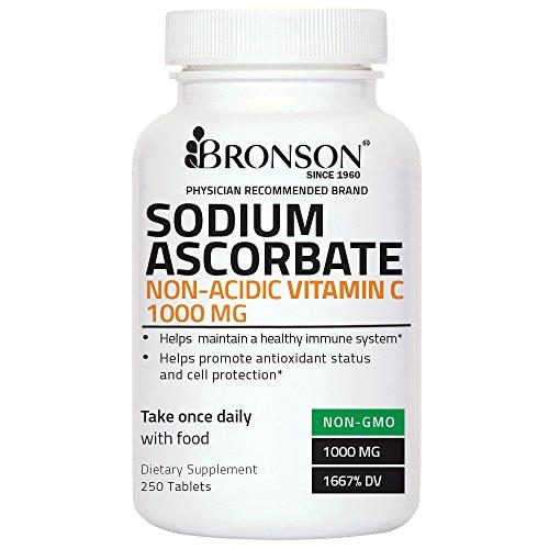 Bronson Ascorbate de Sodium Non Acide de la Vitamine C 1000 mg, 250 Comprimés