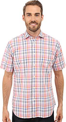 thomas-dean-co-mens-short-sleeve-woven-poplin-plaid-w-texture-pink-button-up-shirt-md