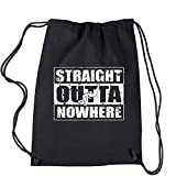 Backpack Straight Outta Nowhere Wrestling Black Drawstring Backpack