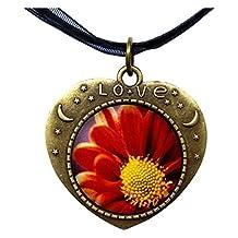 GiftJewelryShop Bronze Retro Style Orange Daisy Heart Lover Moom Star Pendant Charm Necklaces