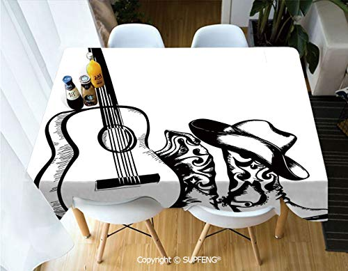 Vinyl tablecloth Country Music Theme with Cowboy Shoes Hat and Guitar Instrument Sketch Art (60 X 104 inch) Great for Buffet Table, Parties, Holiday Dinner, Wedding & More.Desktop decoration.Polyeste -