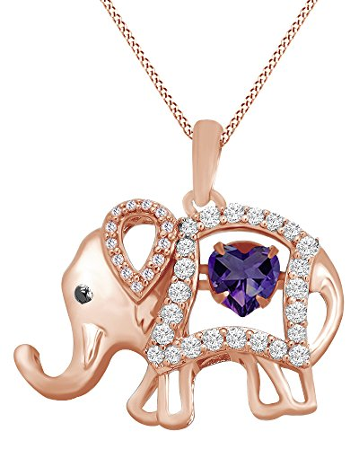 AFFY Round Cut Cubic Zirconia Elephant Floater Pendant Necklace in 14K Rose Gold Over Sterling Silver