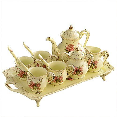 ufengke 8 Piece Creative European Luxury Tea Set, Ivory Porcelain Ceramic Coffee Set With Tea Tray, Hand Painted Red Rose Flower, For Wedding - Rose Tea Set Classic