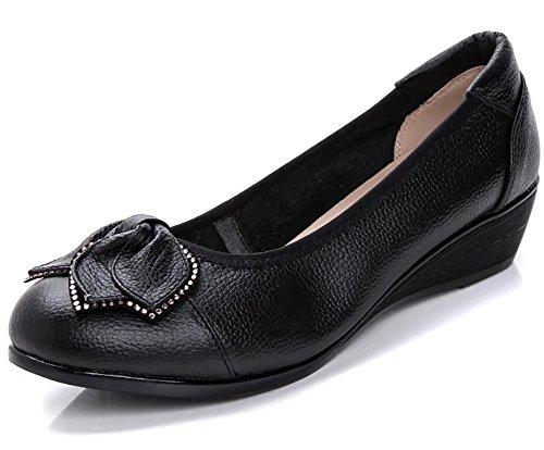 Sketo Women's Genuine Leather Comfort Low-Heeled Wedge Pump Pump US Size 8 Black