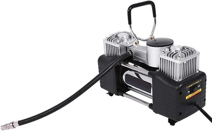 Zerone Compresor de Aire El/éctrico Port/átil Doble Bomba de Aire del Cilindro 12V Compresor de Inflado de Neum/áticos con 4 Adaptadores de Boquilla para Sed/án Coche Cami/ón de Bicicleta Motorizada