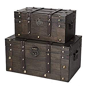 SLPR Alexander Wooden Chest - Set of 2 | Decorative Storage Trunk with Lid (Rustic Brown) | Antique Wood Chest
