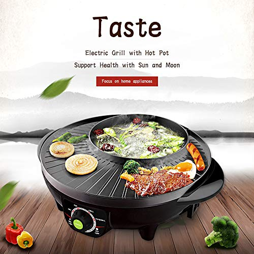 Best Review Of LIVEN Electric Grill with Hot Pot, Non-stick coating surface, Hot Pot with Glass Lid,...