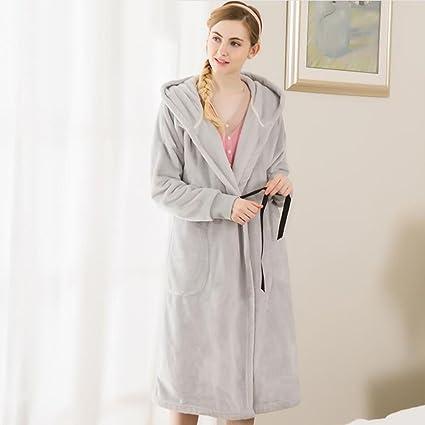 Albornoz de LUJO Señoras Albornoz túnicas con capucha tejidas Invierno franela espesada Ropa de dormir casa