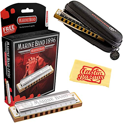 (Hohner Marine Band 1896 Classic Harmonica - Key of C Bundle with Carrying Case and Austin Bazaar Polishing Cloth )