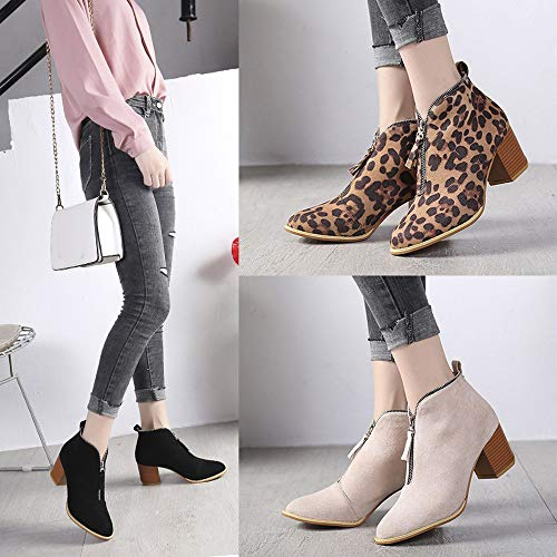 Zipper Cowboy Short Bootie Shoes Outside for Ankle Familizo Boots Martin Solid Fashion Inside Casual Leopard Casual Women Women Boots Ladies Black a8HZqcS4
