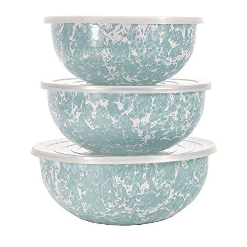 Enamelware - Sea Glass Teal Swirl Pattern - Set of 3 Mixing Bowls
