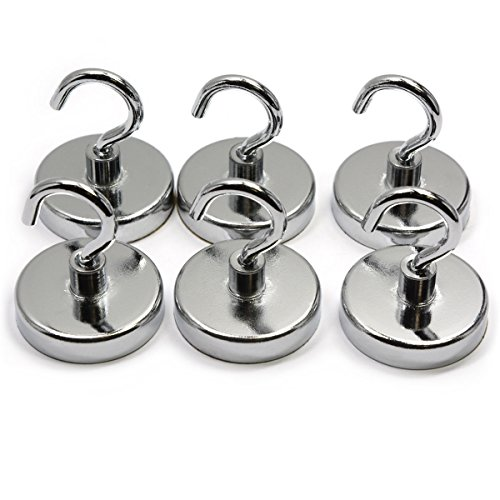 6 Pieces of 18 Pound Holding Power Magnetic Hooks, CMS Magnetics 1.26'' in Diameter Silver Color by CMS Magnetics