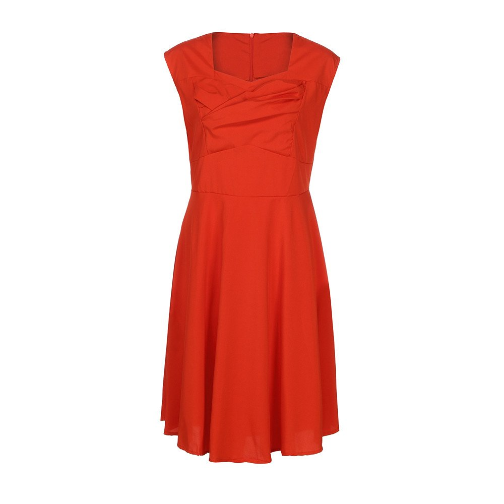Pleated Swing Dress,Women Casual V Neck Sundress Formal Evening Party Maxi Dresses MEEYA