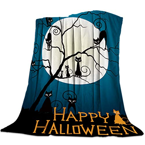 Luxury Flannel Fleece Throw Blanket Super Soft Warm Fuzzy Microfiber All-Season Lightweight Couch Chair Bed Blankets - Happy Halloween Night Black Cat ()