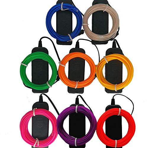 TGHCP-8 Pack 9FT Neon Glowing EL Wire with Battery Pack(White,Blue,Green,Pink,Red,Orange,Yellow,Purple)
