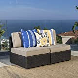 (GDF Studio) Santa Cruz Outdoor Dark Brown Wicker Armless Sectional Sofa Seat with Beige Water Resistant Cushions (Set of 2) by Christopher Knight Home