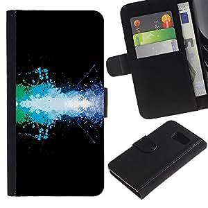 KLONGSHOP / Tirón de la caja Cartera de cuero con ranuras para tarjetas - Design Color SPlash;; - Samsung Galaxy S6 SM-G920