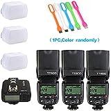 Godox 3X TT600 High Speed Sync 2.4G Wireless Camera Flash Speedlite X1T-C Remote Trigger Transmitter Compatible Canon Cameras+3xDiffuer + CONXTRUE USB LED