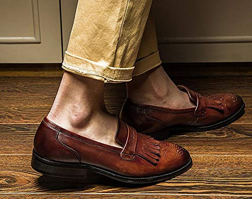 Chaussures on EU Brown Nouveau MXNET Chaussures Chaussures Gland en À Oxford pour 44 Simple Véritable La Brown Hommes Color Main Mocassins Size Cuir Slip Vintage Mocassins SAXqO