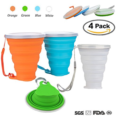 4 Pack Collapsible Travel Cup, 6 Oz(200Ml) Silicone Foldable Drinking Mug with Lid, Food Grade, BPA-free, FDA Approved, Portable for Water, Coffee, Tea & Snacks for Hiking, Camping, Sports, Outdoor