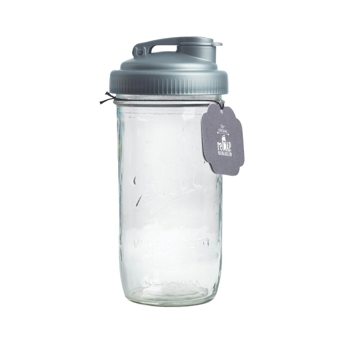 reCAP PJ24-W-SLVR1 Mason Jar Pour Lid & Ball Jar, Silver
