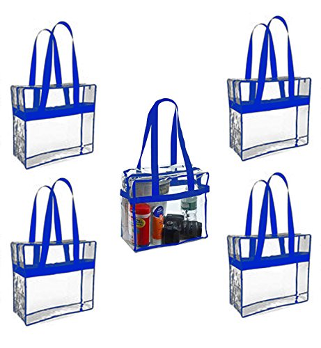 (Sea View Treasures 5 Pack Regulation Sized Clear Stadium Tote Bag Perfect for Stadium or Arena Entry (Blue))