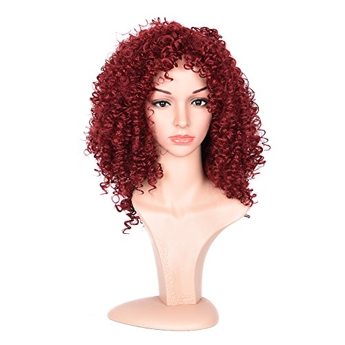 Curly Red Wig (Black Rose Afro Kinky Curly Red Wigs For Black Women Heat Resistant Synthetic Hairstyle Short Curly Cosplay Wig)