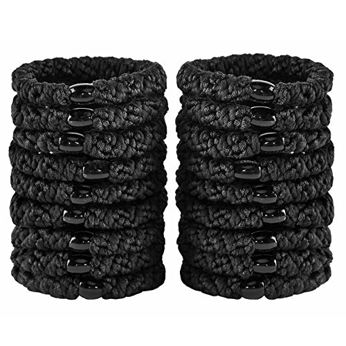 HBY 18 PCS Large Hair Ties Ponytail Holders for Thick Hair - Stretchy Elastic Hair Bands for Women and Girls - Black