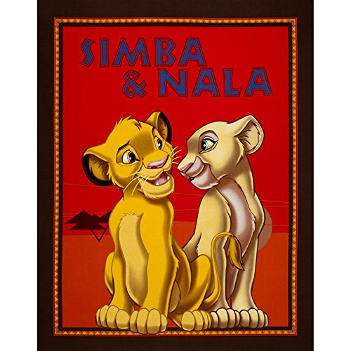 (Disney Lion King Simba & Nala 36'' Panel Brown Fabric By The Yard)