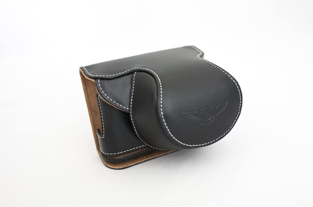 Handmade Genuine real Leather Full Camera Case bag cover for Panasonic GM1 12-32mm//f3.5~5.6 Black color