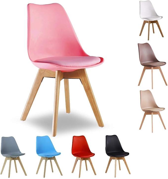 Imagen deSilla de comedor P&N Homewares® Lorenzo Tulip de plástico y madera DWS, estilo retro, en color blanco, negro, gris, rojo, amarillo, verde, azul, rosa