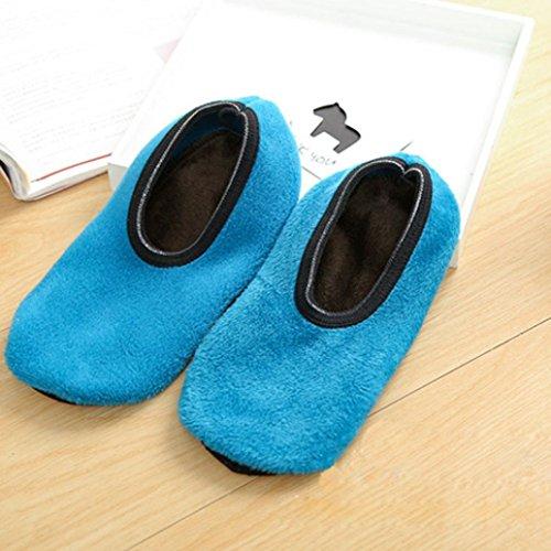 Calzini Antiscivolo Slipper, Inkach Donne Ragazze Antiscivolo In Pile Calde Pantofole Antiscivolo Calze Sportive Yoga Blu Cielo