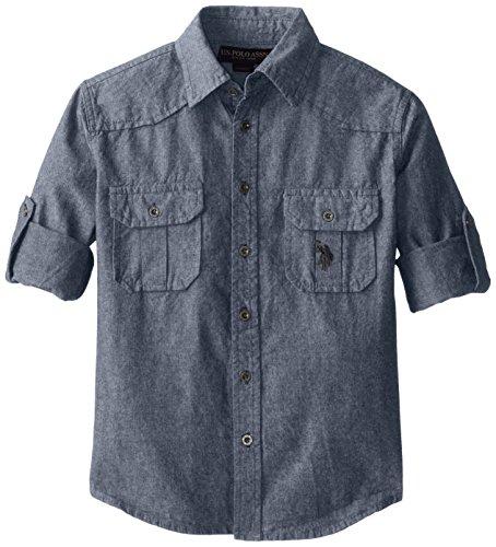 us-polo-assn-boys-long-sleeve-chambray-sport-shirtsf78-blue-10-12