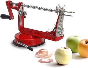 Pocooyo 3-in-1 Apple Peeler, Stainless Steel Apple Corer Slicer Peeler, Durable Heavy Duty Die Cast Magnesium Alloy Apple Peeler Slicer Corer with Suction Base - (RED)