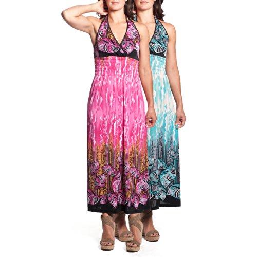 2 Women's Tie-Neck Halter Maxi Dress Full-Length Sundress Tropical Leaf - Full Leaf Length Print