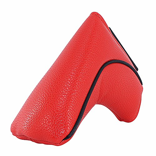 On Face Putter (Big Teeth Classic Golf Blade Putter Cover Headcover Mid Mallet Club Protector Magnetic Bar Closure For Scotty Cameron Taylormade Odyssey (Red))