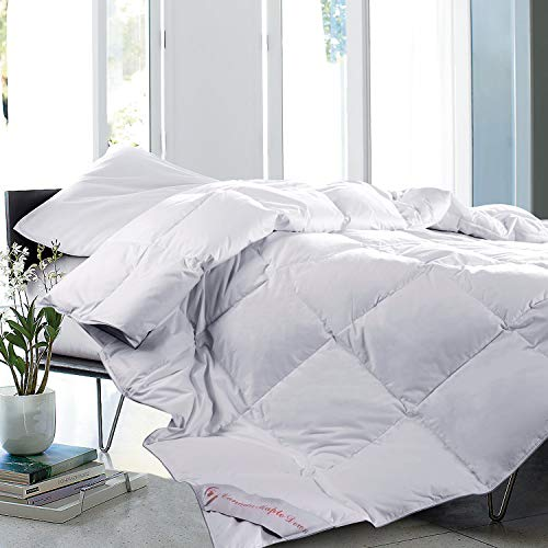 Maple Down Superior White Queen Comforter, Down Alternative Comforters for All Season with Cotton Soft Shell, Hotel Quality Duvet Insert, 90 x 90 inches.