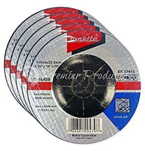 "Makita 5 Pack - 4.5"" Grinding Wheel For Grinders - Aggressive Grinding For Metal - 4-1/2 x 1/4 x 7/8-Inch"