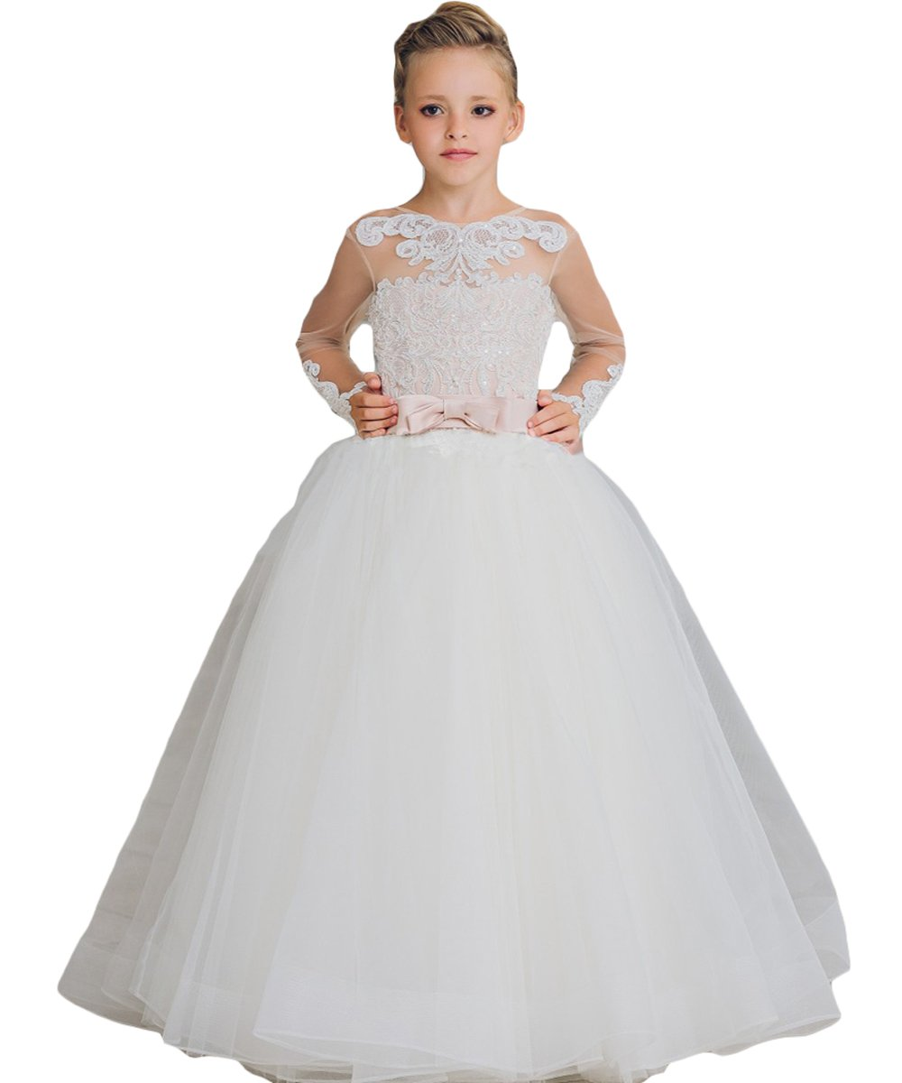 Newdeve Ball Gown Flower Girls Dresses Baby Birthday Gown With Bow Sash (8, White)