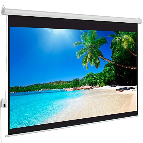 ShowMaven 100-inch 4:3 Matte White Home Theater Electric Motorized Auto Drop Down Projection Projector Screen w/ Remote