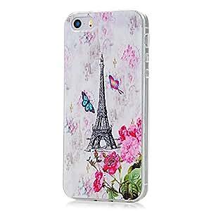 VCOER Torre y las Mariposas Coloridas Pintado Diseño TPU de Silicona Caso Protector para iPhone 5 5S Funda Protectora de la Cubierta del Bolso de Protección de Caso