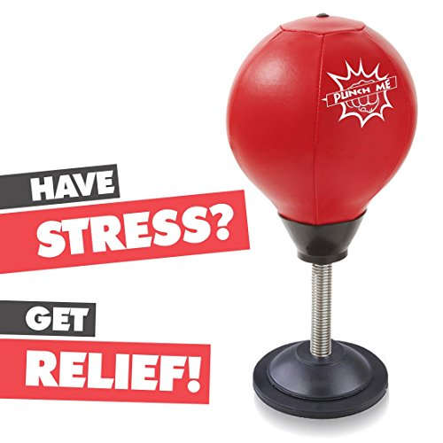 Stress Buster Desktop Punching Ball – Relieves Stresses & Good for Exercise - Super Strong Suction Cup Holds Securely on Smooth, Flat and Dry Surface – Pump Included – Just Punch Me! by Abco Tech
