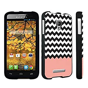 DuroCase ? Alcatel One Touch Fierce 7024W Hard Case Black - (Coral Chevron)