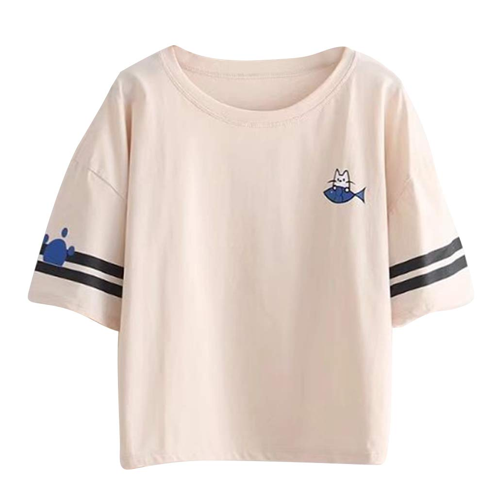Women Teen Girls Cute Cat Embroidered Round Neck Crop Top Tees T-Shirt Blouse Girls Junior (Apricot, OneSize)