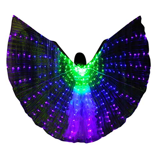 Togethor LED Wings Belly Dance Glow Light Up Belly Dance Costumes with Sticks Performance Clothing Carnival Halloween ()