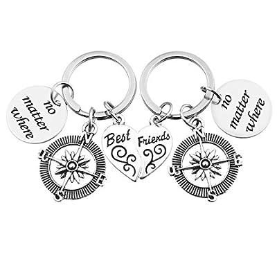 MJARTORIA Best Friends Heart No Matter Where Compass Keychain Ring Set of 2