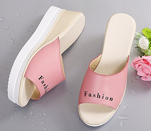 Toe Mode Femme Epaise Aisun Sandales Semelle 5cm Peep 6 Rose Mules pwgqWUWO