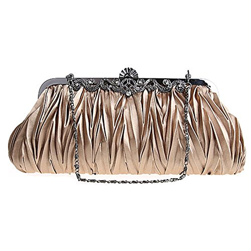 Womens Molly Classy Purse Hand Bag Various Satin Gold Fashion Evening Vintage Cinched Elegant Envelope Clutch Colors BdPdrY