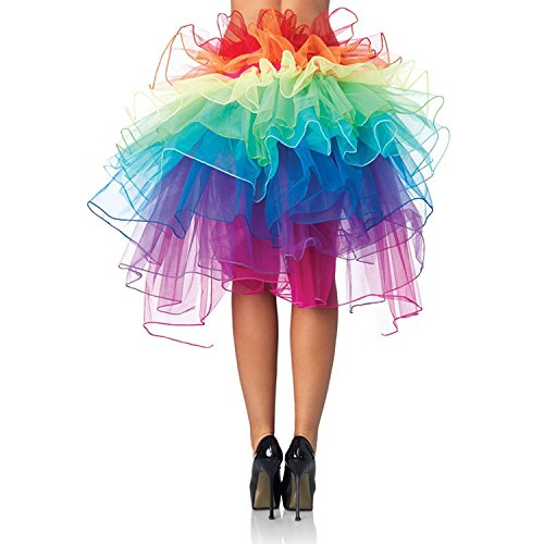 Lanzom Women Layered Organza Rainbow Bustle Dance Party Tutu Skirt Ruffle Tiered Clubwear (Rainbow) (Tutu Dress Adult)